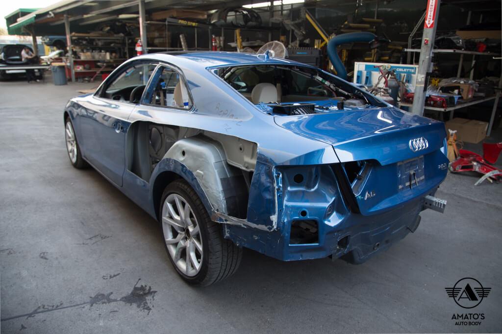 Amatos Auto Body Audi Authorized Certified A4 Auto Body Painting Quarter Panel Repair2