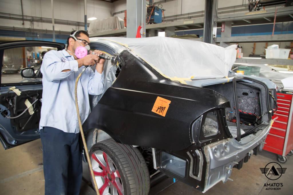 Amatos Auto Body BMW Authorized Certified 330i Auto Body Painting Quarter Panel